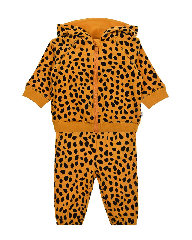 Купить Оранжевый спортивный костюм с леопардовым принтом Stella McCartney детский, 100%хлопок, 98%хлопок+2%эластан