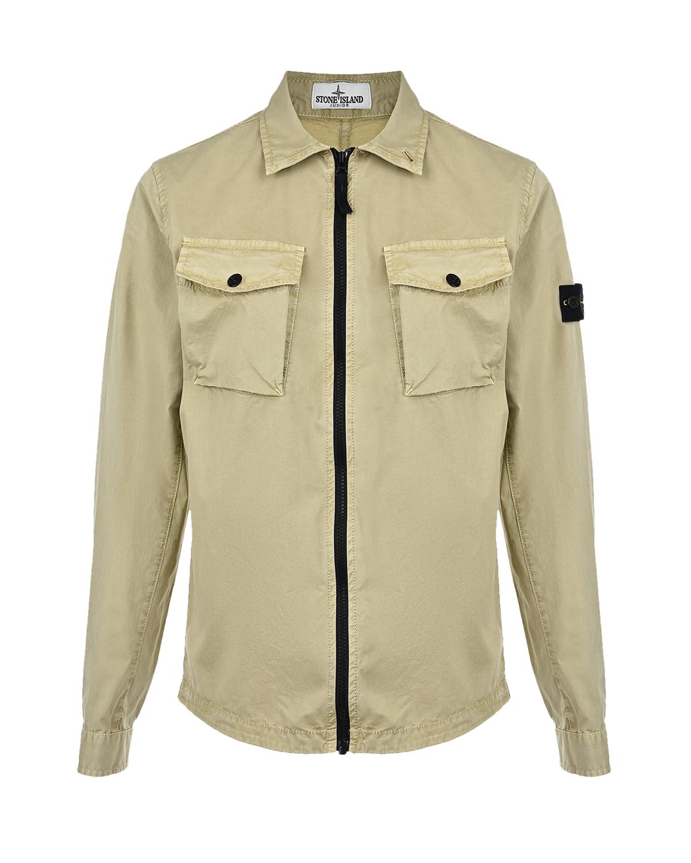 Купить Бежевая куртка-рубашка Stone Island детская, Бежевый, 97%хлопок+3%эластан