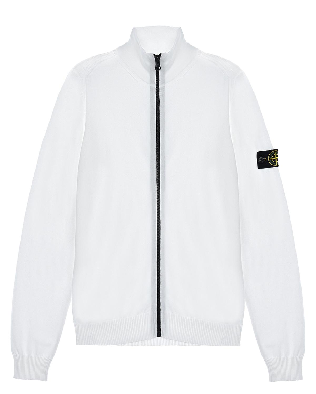 Купить Белая спортивная куртка с лого на рукаве Stone Island детская, Белый, 100%хлопок