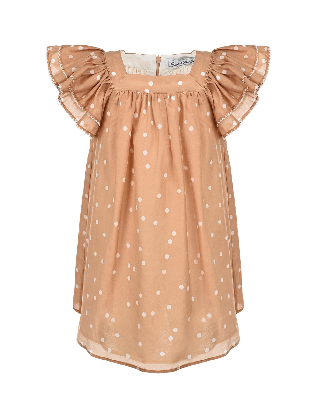 Купить Бежевое платье с принтом в горошек Tartine et Chocolat детское, Бежевый, 70%хлопок+30%шелк, 100%хлопок