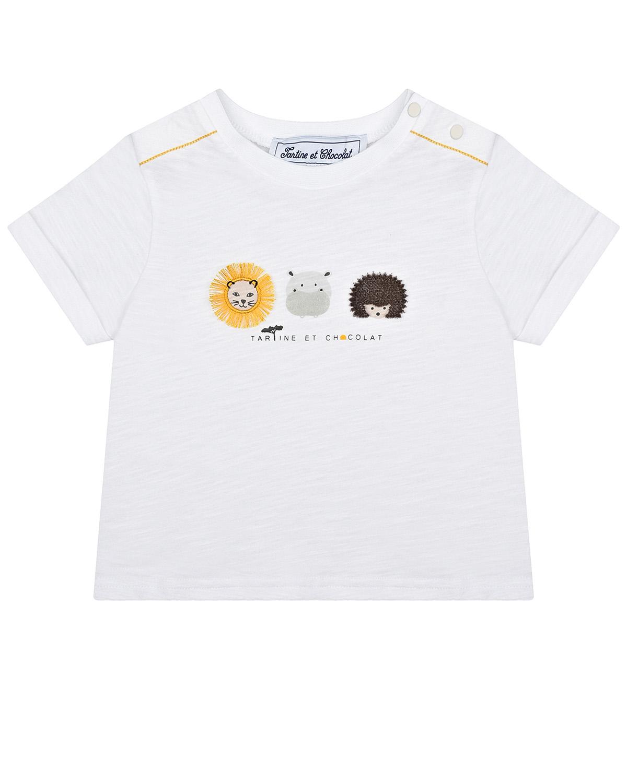 Купить Белая футболка с вышивкой зверята Tartine et Chocolat детская, Белый, 100%хлопок