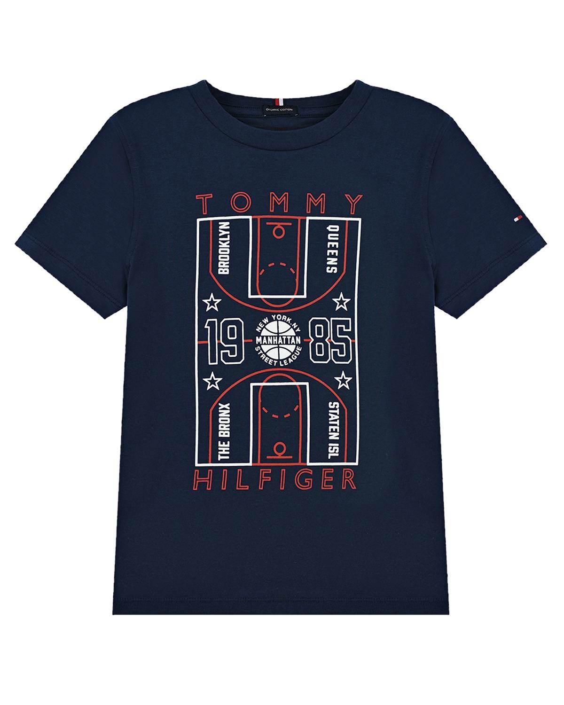 Купить Синяя футболка со спортивным принтом Tommy Hilfiger детская, Синий, 100% хлопок