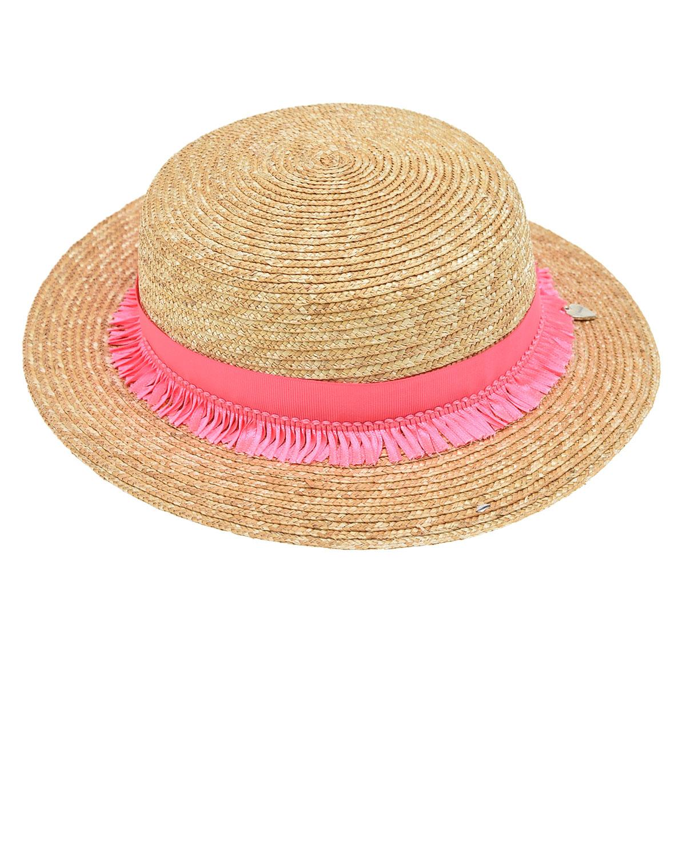 Купить Шляпа из соломы с розовой лентой Il Trenino детская, Бежевый, 100% солома
