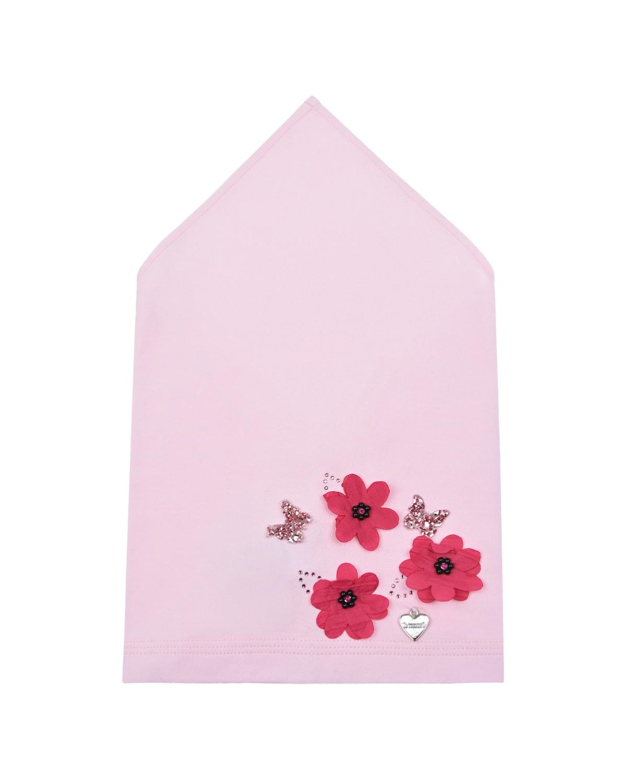 Купить Розовая косынка с аппликацией Цветы и бабочки Il Trenino детская, Розовый, 95% хлопок+5% эластан