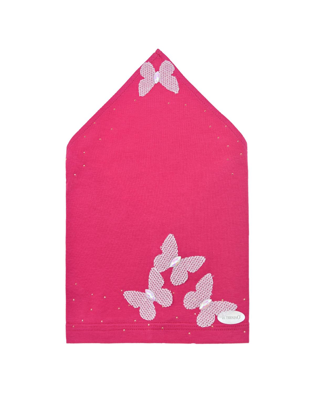 Купить Косынка цвета фуксии с декором бабочки Il Trenino детская, Нет цвета, 95% хлопок+5% эластан
