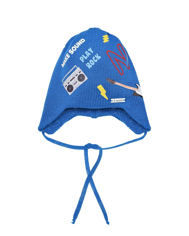 Купить Синяя шапка с принтом Play Rock Il Trenino детская, Синий, 100% хлопок