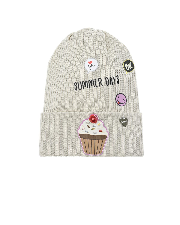 Купить Бежевая шапка с патчем капкейк Il Trenino детская, Бежевый, 100% хлопок