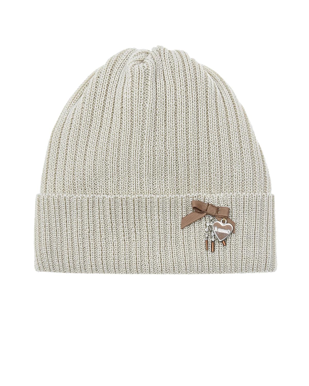 Купить Бежевая шапка с подвеской в форме сердечка Il Trenino детская, Бежевый, 100% хлопок