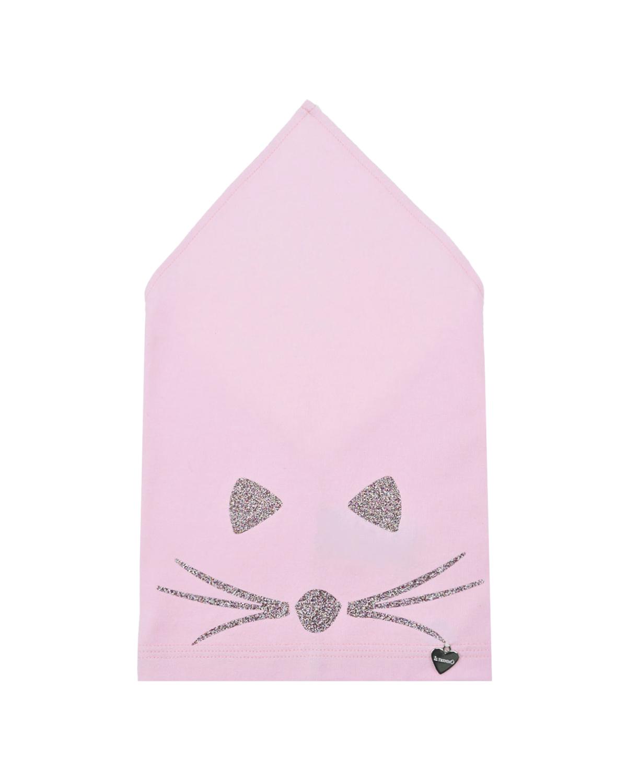 Купить Розовая косынка с принтом усы и ушки Il Trenino детская, Розовый, 95% хлопок+5% эластан