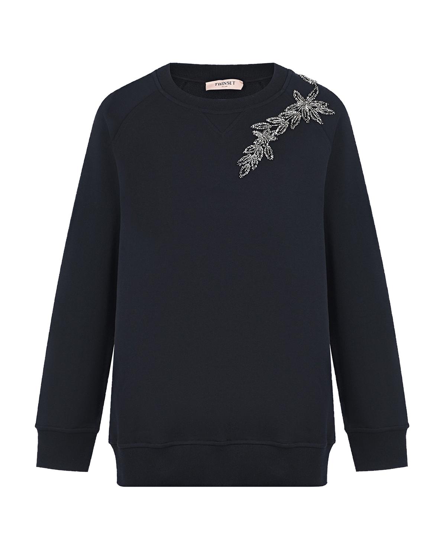 Купить Черный свитшот с вышивкой TWINSET, 100%хлопок, 95%хлопок+5%эластан, 100%полиэстер, 100%полиамид