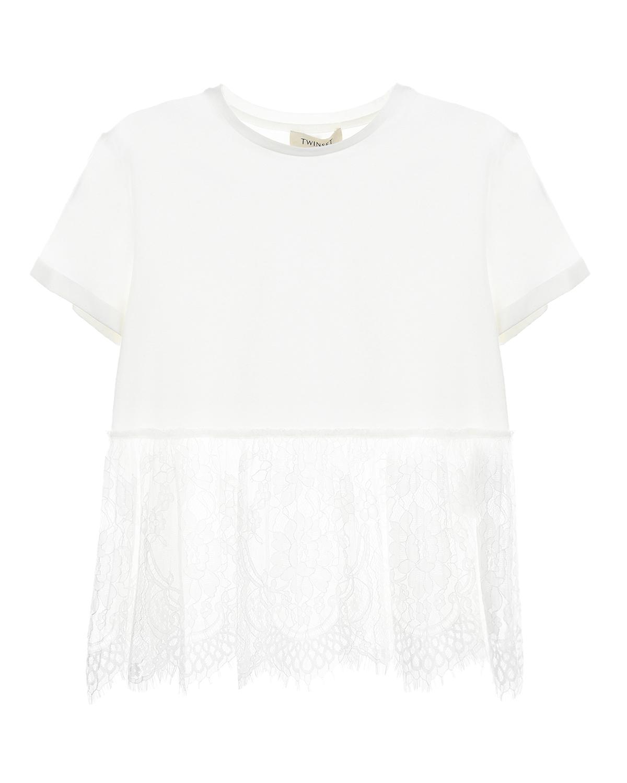 Купить Белая футболка с кружевной отделкой TWINSET детская, Белый, 95%хлопок+5%эластан, 100%полиамид, 100%полиэстер
