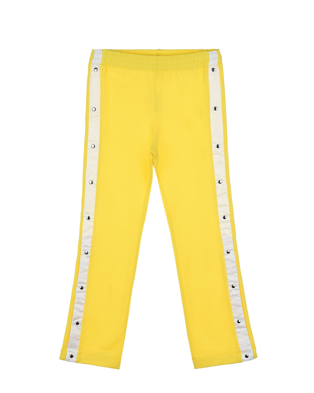Купить Желтые спортивные брюки с белыми лампасами TWINSET детские, Желтый, 95%хлопок+5%эластан, 100%полиэстер