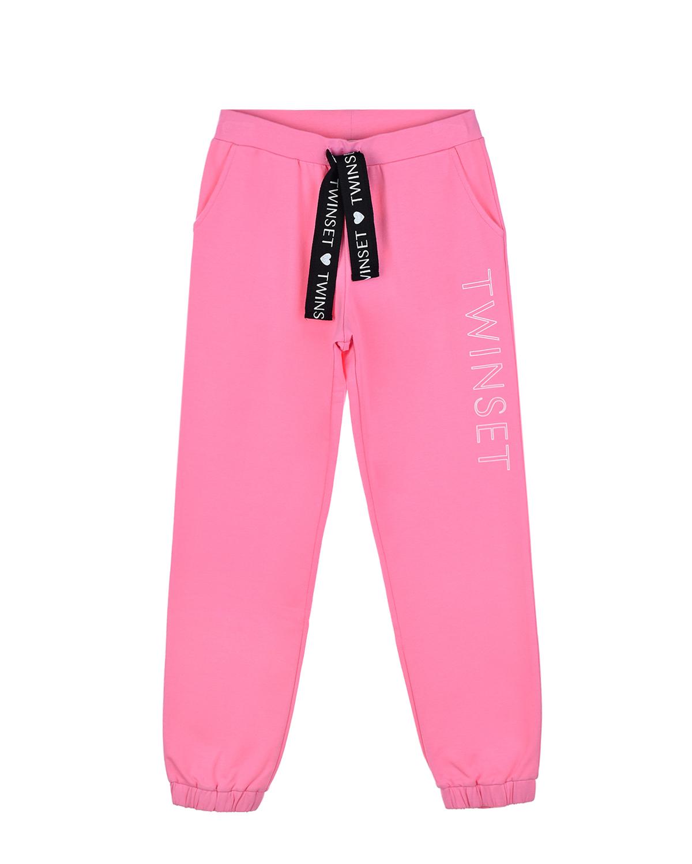 Купить Розовые спортивные брюки с логотипом TWINSET детские, Розовый, 95%хлопок+5%эластан. 100%хлопок