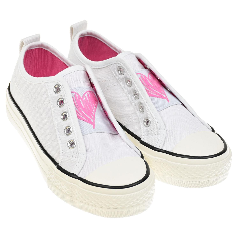 """Белые кеды с принтом """"розовое сердце"""" TWINSET детские, Белый, верх-100% хлопок, подкладка-100% хлопок, подошва-100% эластомер  - купить со скидкой"""