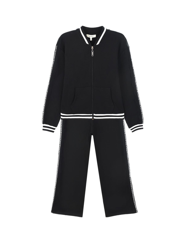 Купить Черный спортивный костюм с белыми полосками TWINSET детский, 95% хлопок+5% эластан, 100% полиэстер, 100% хлопок