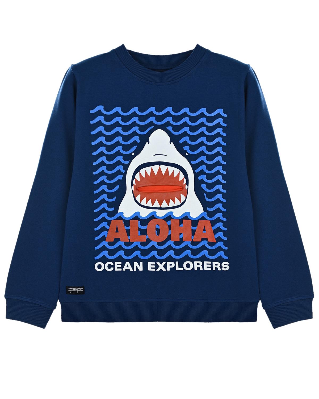 """Синяя толстовка с принтом """"акула"""" Yporque детская, Синий, 70%хлопок+25%модал+5%эластан  - купить со скидкой"""