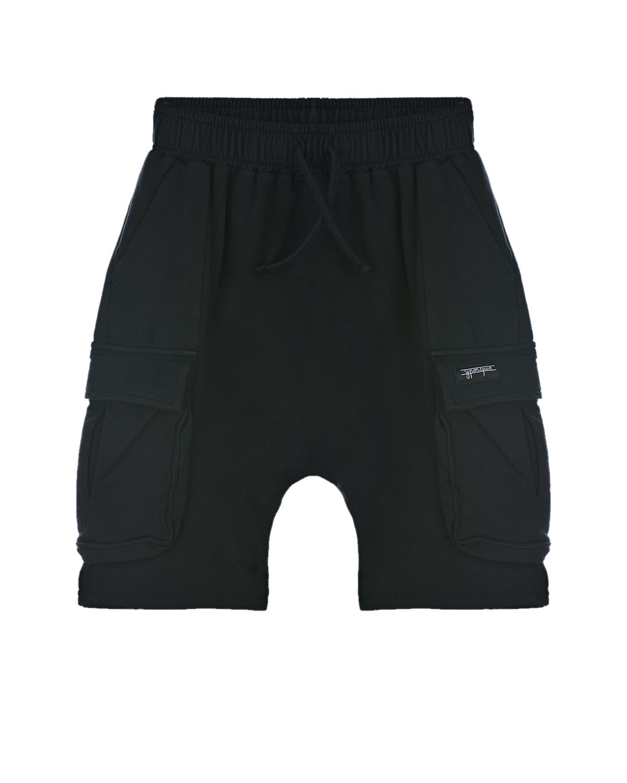 Купить Черные шорты с карманами-карго Yporque детские, Черный, 70%хлопок+25%модал+5%эластан