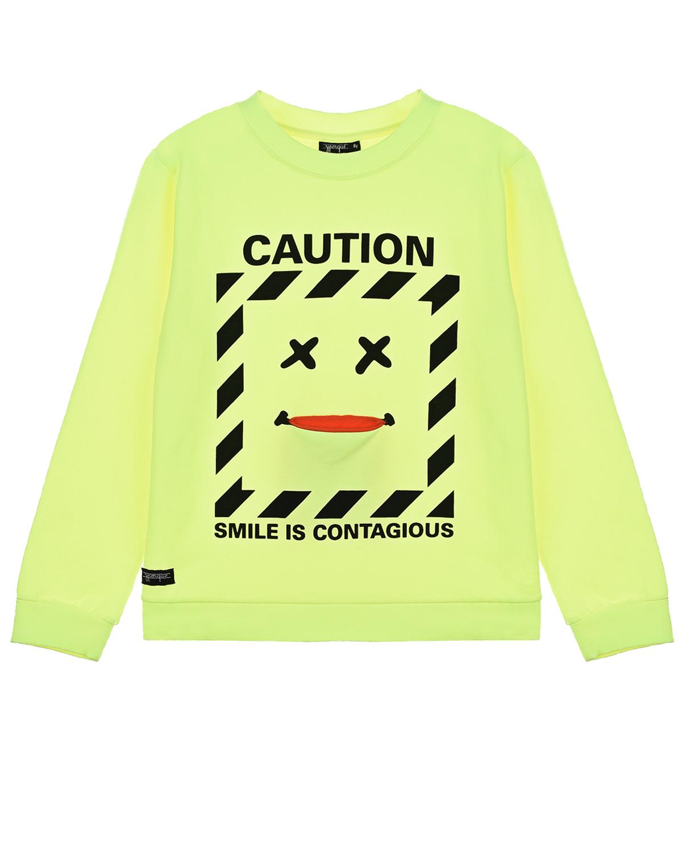 Купить Салатовый свитшот с принтом caution Yporque детский, 70%хлопок+25%модал+5%эластан