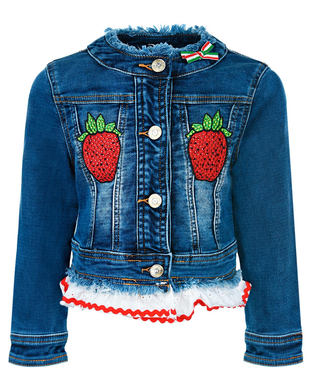 Купить Джинсовая куртка с декором Клубника Monnalisa детская, Синий, 89%хлопок+9%полиэстер+2%эластан