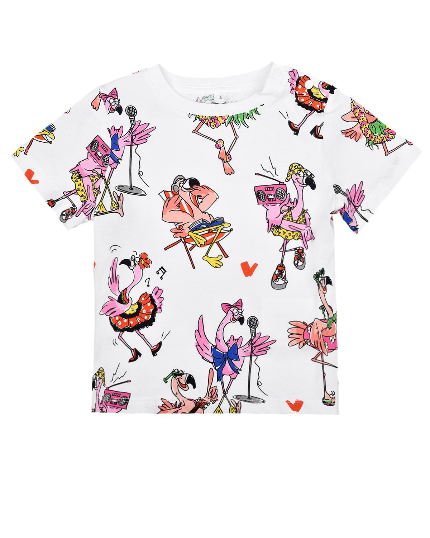 Купить Футболка с принтом Фламинго Stella McCartney детская, Мультиколор, 100%хлопок