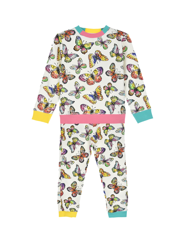 Купить Спортивный костюм с принтом Бабочки Stella McCartney детский, Кремовый, 100%хлопок, 95%хлопок+5%эластан