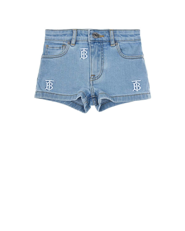 Купить Голубые джисновые шорты с монограммой Burberry детские, Голубой, 98%хлопок+2%эластан