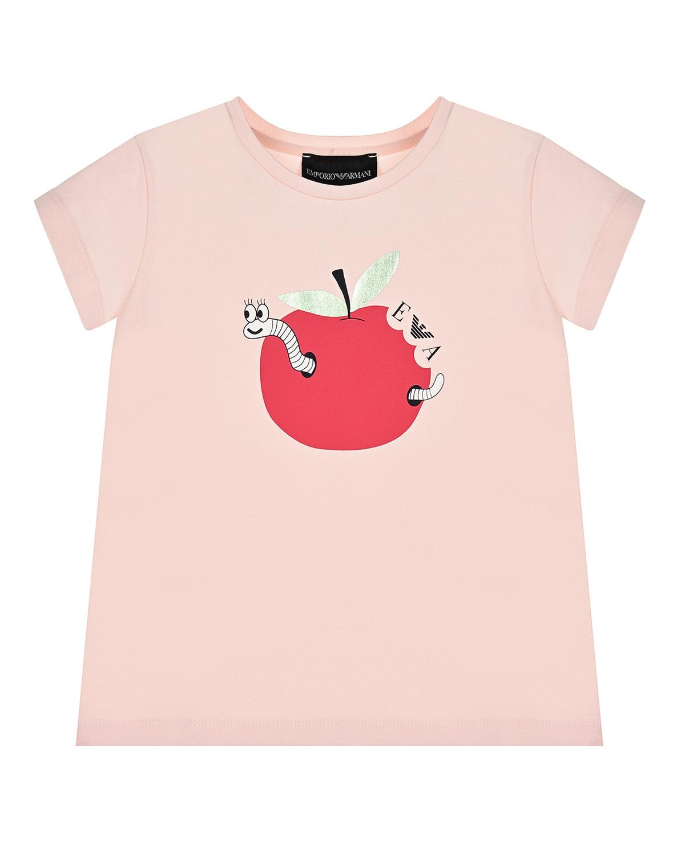 Купить Розовая футболка с принтом яблоко Emporio Armani детская, Розовый, 95%хлопок+5%эластан