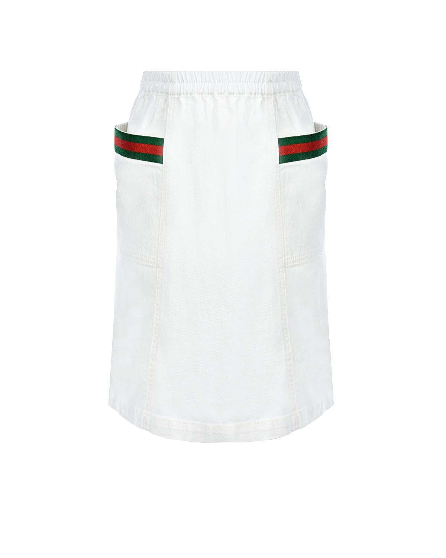 Купить Белая джинсовая юбка с накладными карманами GUCCI детская, Белый, 98%хлопок+2%эластан. 100%полиэстер
