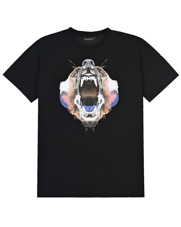 Купить Черная футболка с принтом Медведь Marcelo Burlon детская, Черный, 100%хлопок