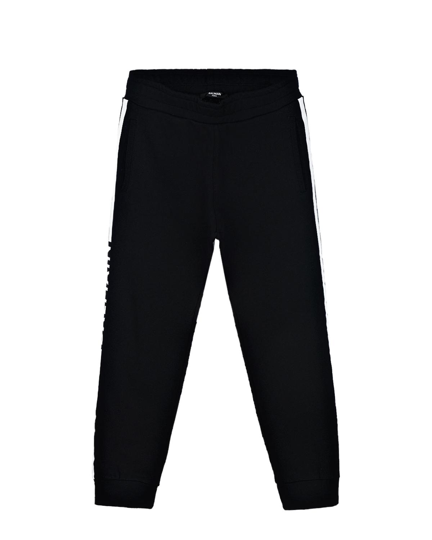 Купить Черные спортивные брюки с белыми лампасами Balmain детские, Нет цвета, 100%хлопок
