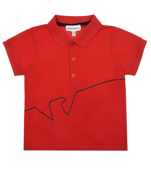 Красная футболка-поло с принтом Emporio Armani детская