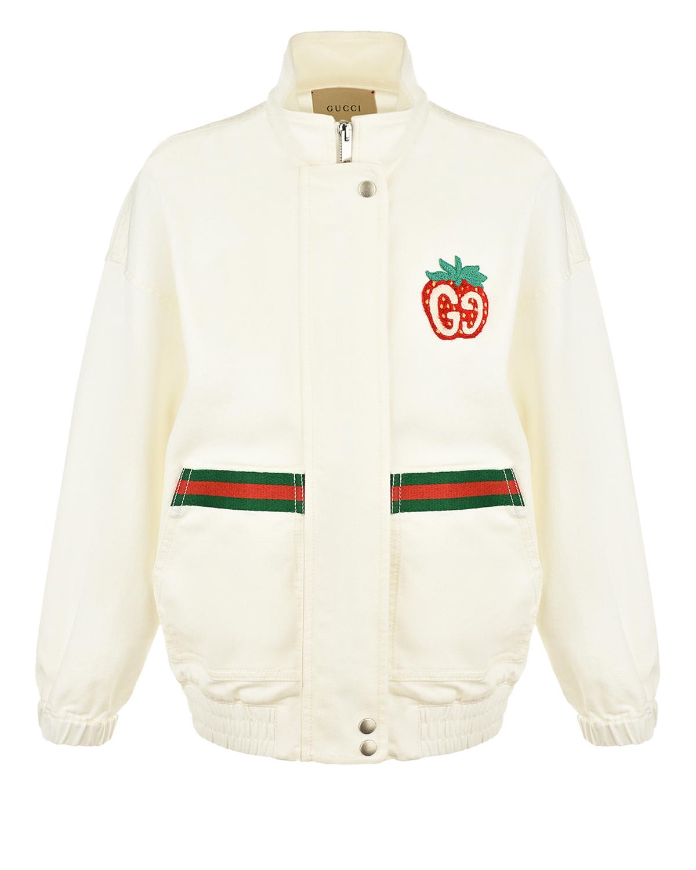 Купить Белая джинсовая куртка с красно-зеленой тесьмой GUCCI детская, Белый, 98%хлопок+2%эластан. 72%акрил+28%полиэстер, 100%полиэстер