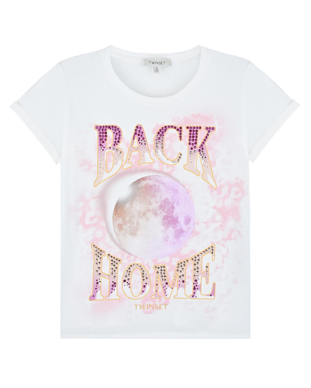 футболка с принтом twinset для девочки