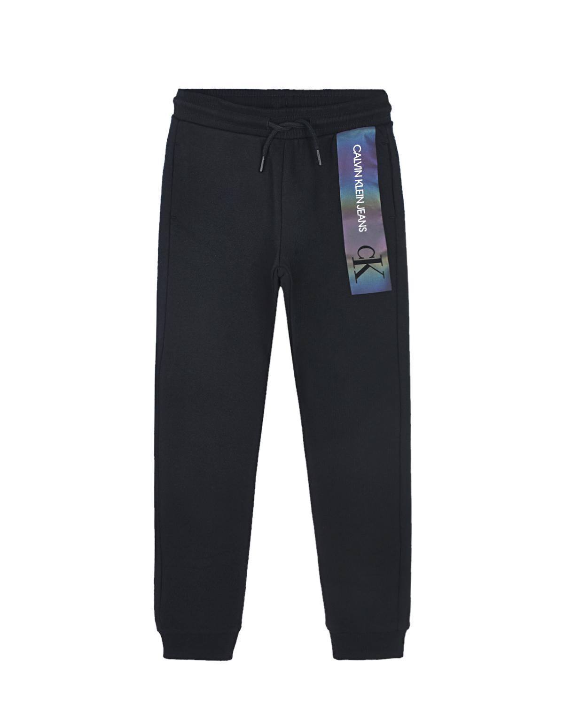Купить Черные спортивные брюки с логотипом Calvin Klein детские, Черный, 100% хлопок, 98% хлопок+2% эластан