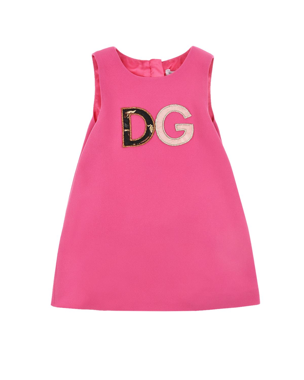 Купить Розовое платье с крупным логотипом Dolce&Gabbana детское, Розовый, 100%вискоза, 51%вискоза+46%ацетат+3%эластан, 35%полиэстер+35%хлопок+15%шелк+15%метал.полиэстер