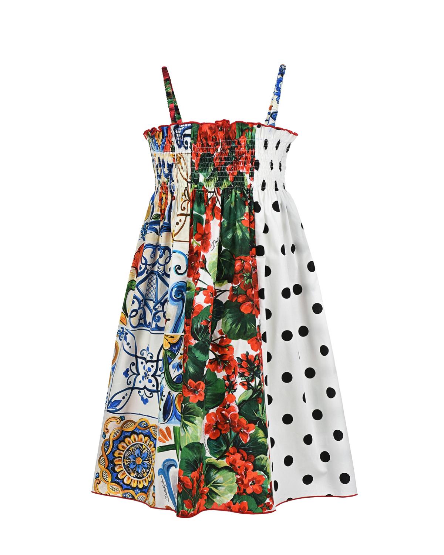 Купить Хлопковый сарафан на тонких бретелях Dolce&Gabbana детский, Мультиколор, 100%хлопок