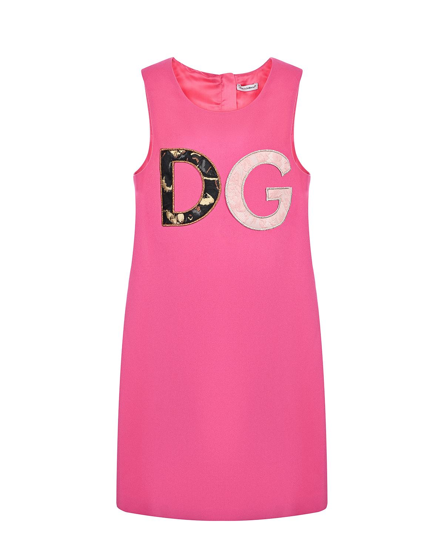 Купить Розовое платье с логотипом Dolce&Gabbana детское, Розовый, 51%вискоза+46%ацетат+3%эластан, 100%вискоза. 35%полиэстер+35%хлопок+15%шелк+15%металлизированный полиэстер