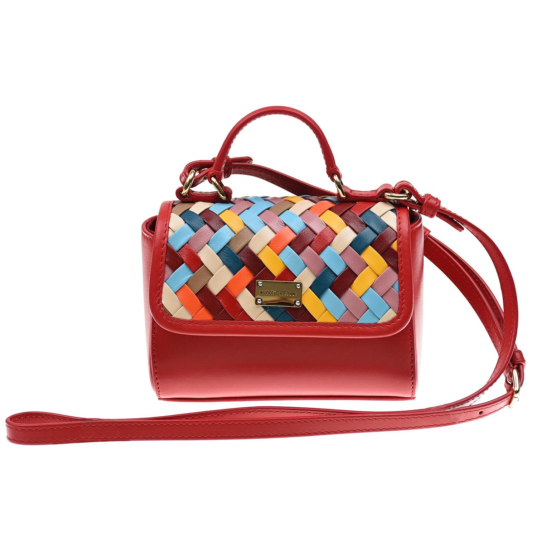 Сумка с разноцветным клапаном, 13x14x8 см Dolce&Gabbana детская красного цвета