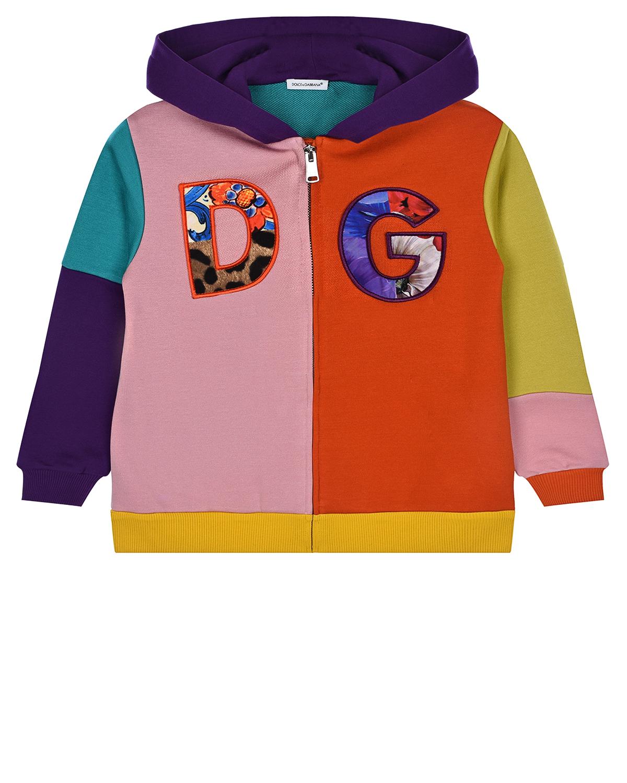 Купить Трикотажная куртка с капюшоном Dolce&Gabbana детская, Мультиколор, 92%хлопок+8%полиэстер, 100%хлопок