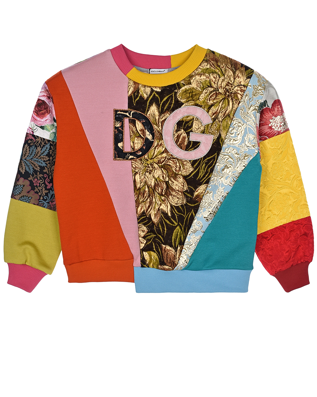 Купить Свитшот с цветными асимметричными лоскутами Dolce&Gabbana детский, Мультиколор, 36%хлопок+35%полиэстер+17%вискоза+7%шелк+3%метал.полиэстер+2%полиамид, 100%хлопок