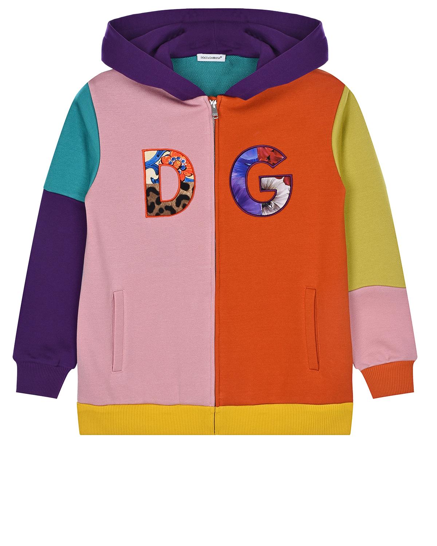 Купить Трикотажная куртка на молнии Dolce&Gabbana детская, Мультиколор, 92%хлопок+8%полиэстер, 100%хлопок
