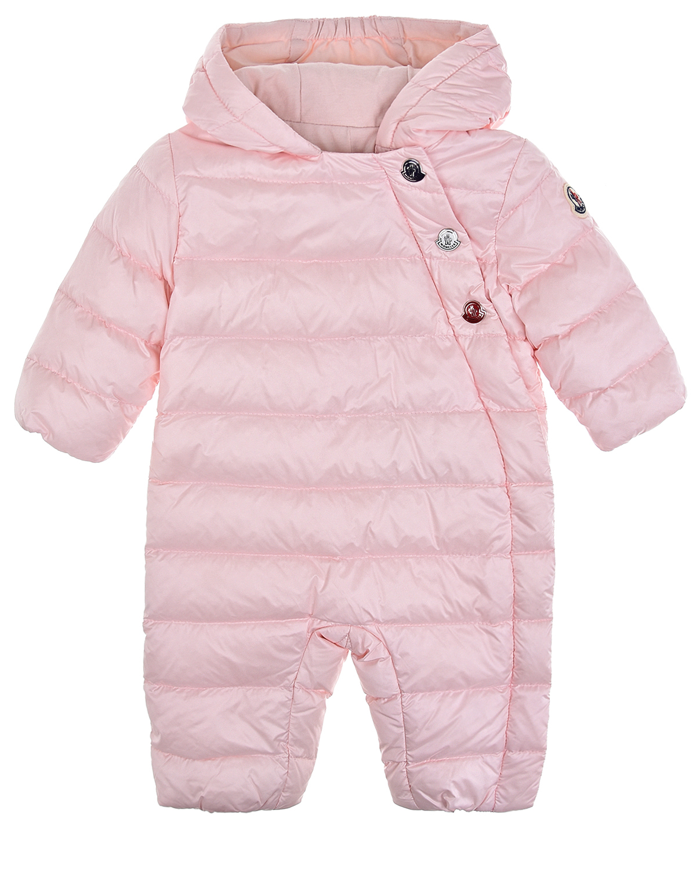 Купить Розовый стеганый комбинезон с капюшоном Moncler детский, 100%полиамид, 100%хлопок, 90%пух+10%перо