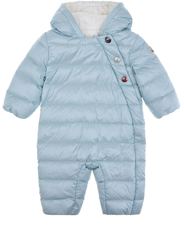 Купить Голубой стеганый комбинезон с капюшоном Moncler детский, 100%полиамид, 100%хлопок, 90%пух+10%перо