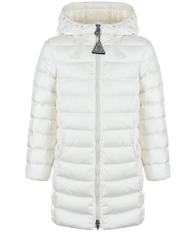 Купить Белое пальто-пуховик Moncler детское, Белый, 100%полиамид, 90%пух+10%перо