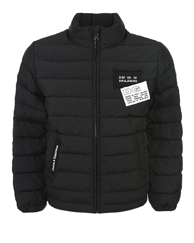 Купить Черная стеганая куртка Dolce&Gabbana детская, Черный, 100%полиэстер, 70%пух+30%перо, 58%хлопок+20%полиуретан+10%полиэстер+12%вискоза