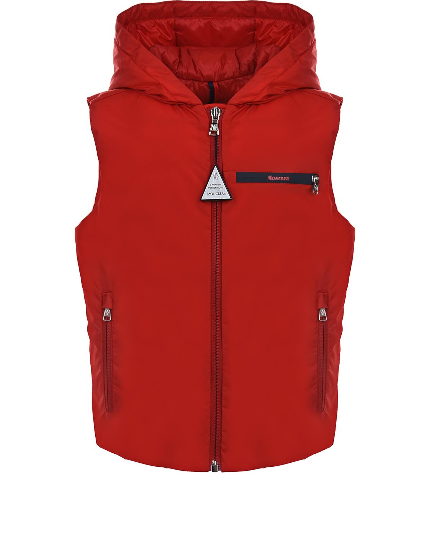 Купить Красный жилет на молнии Moncler детский, 100%полиамид, 90%пух+10%перо