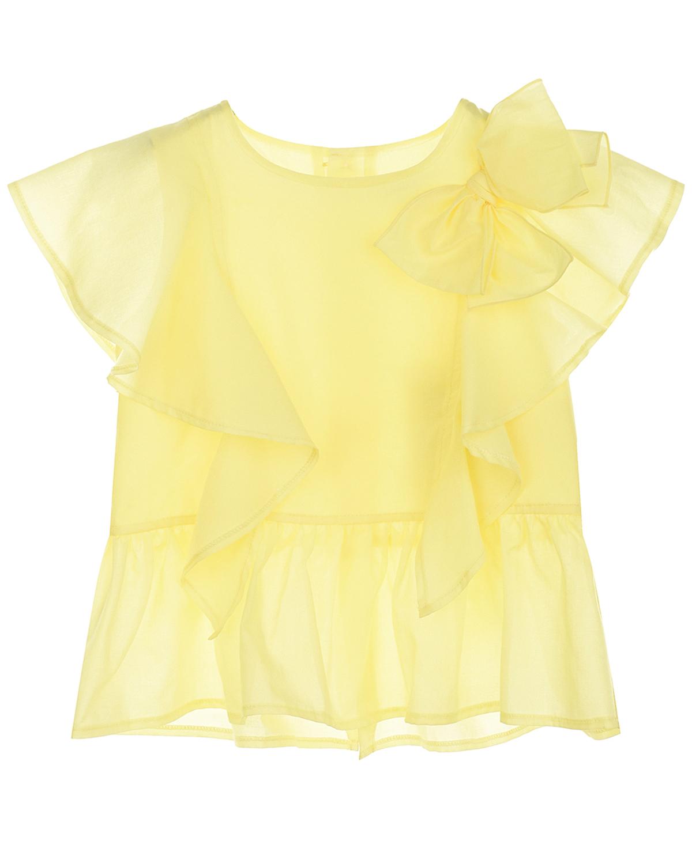 Купить Желтый топ с бантом Aletta детский, 100%хлопок