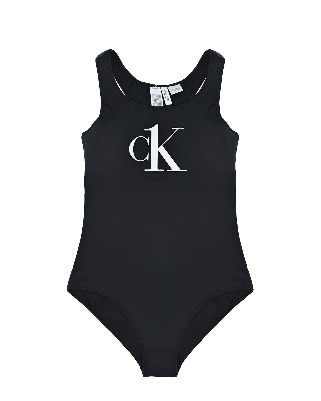 Черный купальник с белым логотипом Calvin Klein детский, 85% полиэстер+15% эластан  - купить со скидкой
