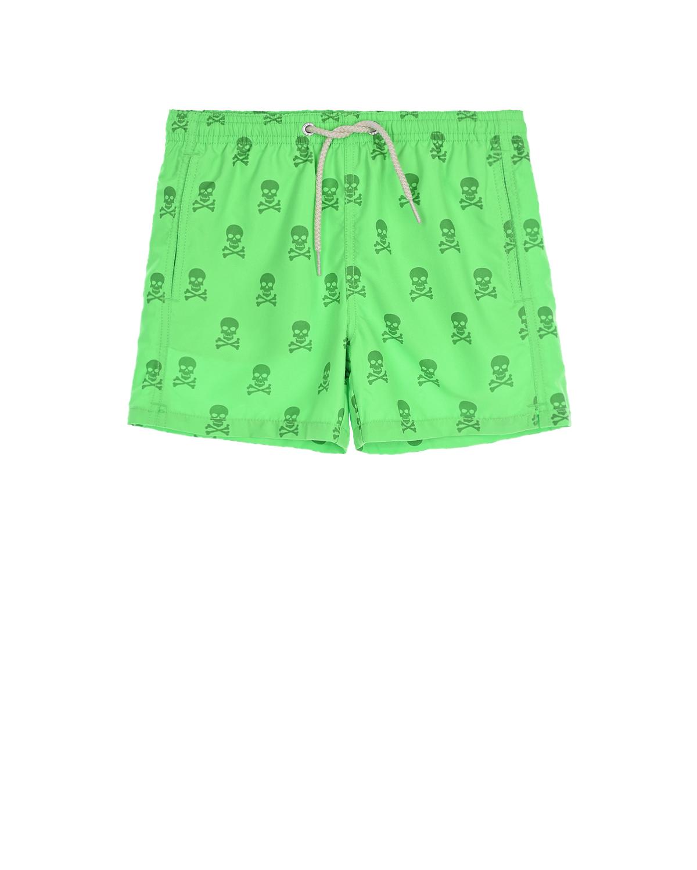 Купить Зеленые шорты для купания с пиратским принтом Saint Barth детские, Зеленый, 100% полиэстер, 94%полиамид+6%эластан