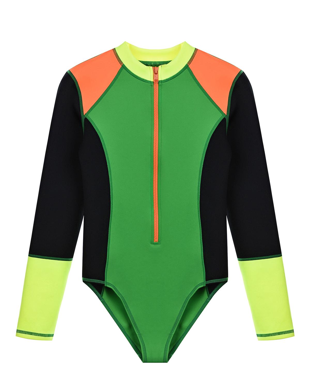 Купить Спортивный купальник в стиле колорблок Stella McCartney детский, Мультиколор, 94%полиэстер+6%эластан, 100%полиэстер